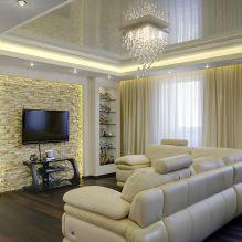 Натяжные потолки в гостиной: виды, дизайн, освещение, 60 фото в интерьере-7